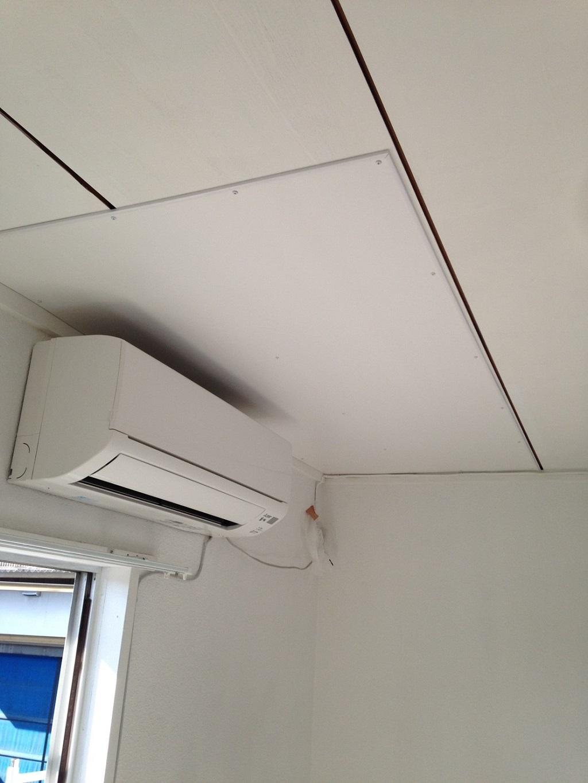 化粧ベニヤにて天井の修繕工事